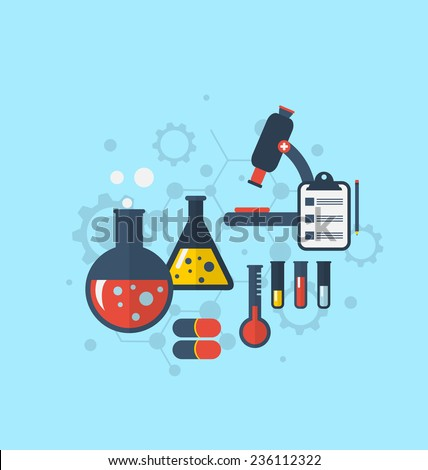 Illustration template for showing various tests being conducted in laboratory glassware using chemical solutions and reactions. Modern flat style - vector - stock vector
