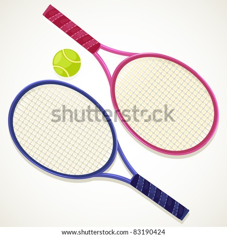 illustration Tennis rackets and ball