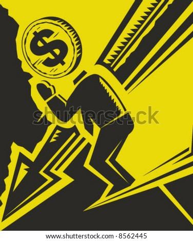 illustration that describes the usa dollar fall in the global economy market - stock vector