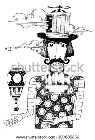 illustration the dream maker man with old hat retro moustache beard fantasy character - stock vector