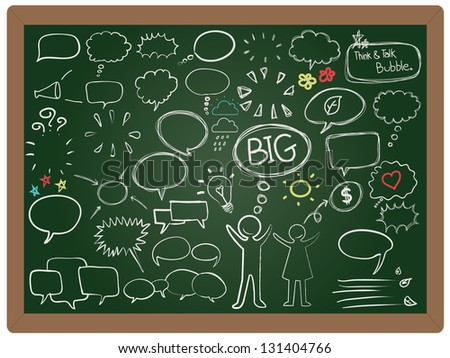 illustration think bubbles and talk bubble with men collection set drawing on blackboard background vector - stock vector