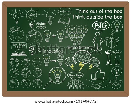 illustration thinking and creativity collection set drawing on blackboard background vector - stock vector