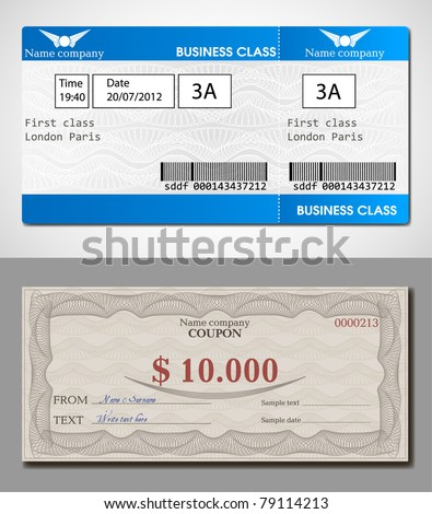 Illustration tickets and coupon with watermarks - stock vector