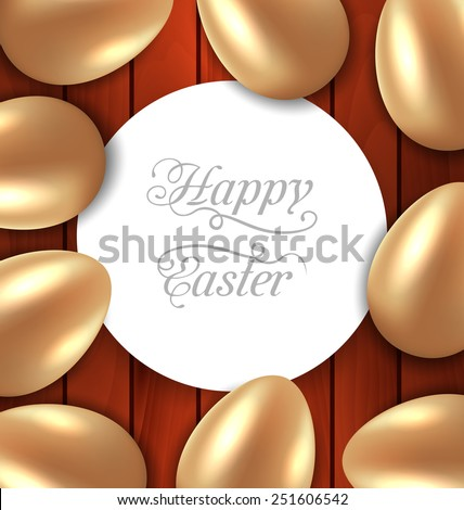 Illustration traditional colorful ornate eggs with flowers chamomiles for Easter, copy space for your text - vector - stock vector