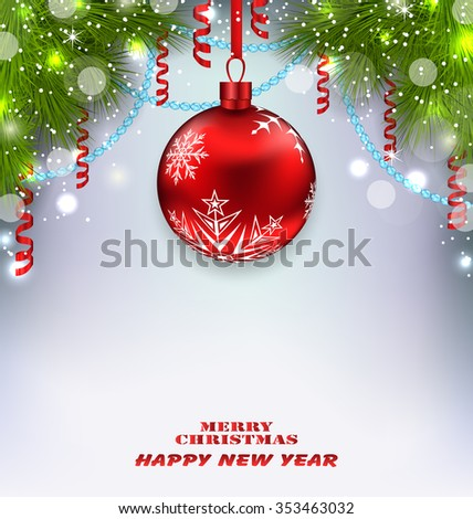 Illustration Traditional Decoration with Fir Branches and Glass Ball for Merry Christmas and Happy New Year - Vector - stock vector