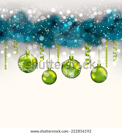 Illustration traditional decoration with fir branches and glass balls for Merry Christmas - vector