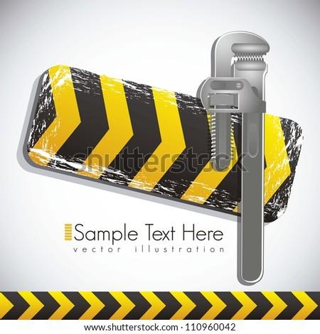 Illustration traffic tape wrench, under construction, vector illustration - stock vector
