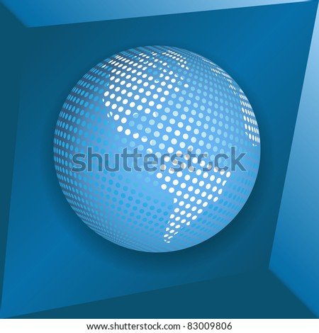 Illustration, transparent blue globe on blue background - stock vector