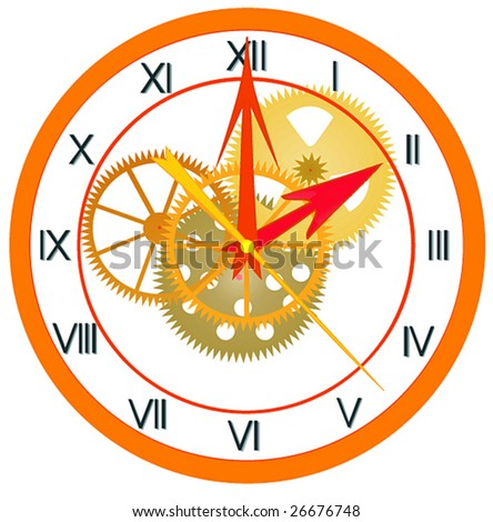 Illustration, transparent clock, on a white background.
