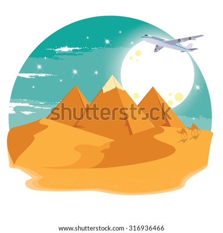 illustration. travel to pyramids in Egypt - stock vector