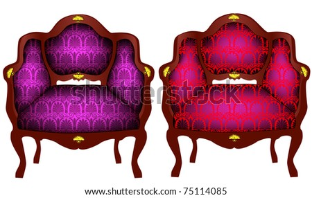 illustration two chairs with gold(en) detail - stock vector