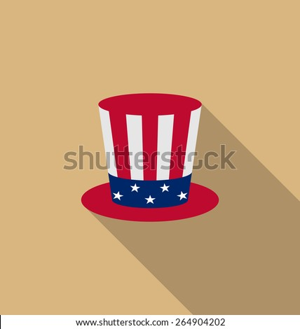 Illustration Uncle Sam's hat for american holidays, flat icon with long shadow, minimal style - vector - stock vector