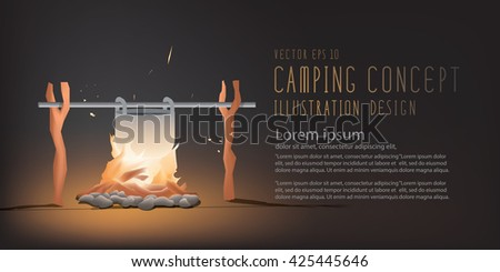 Illustration vector banner beautiful Campfire cooking for a living in the night for camping. But it can be used on the day. Travel Camping and Recreation Concept - stock vector