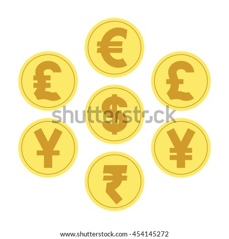 illustration vector. coins for currency exchange rates. Finance Concept. - stock vector