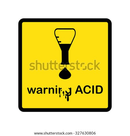 illustration vector creative design warning acid with exclamation mark made of beaker and acid drop - stock vector