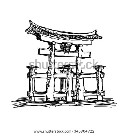 illustration vector doodle hand drawn of sketch itsukushima shrine Landmark in Japan, isolated on white - stock vector