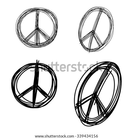 illustration vector doodle hand drawn of sketch set peace sign symbol isolated - stock vector