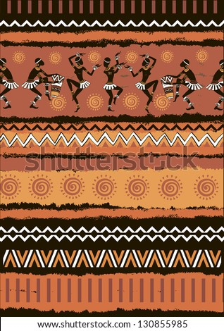 Illustration vector ethnic ornament set.The silhouette of the Africans. Dancing Africans and aborigines.Seamless vector tribal texture