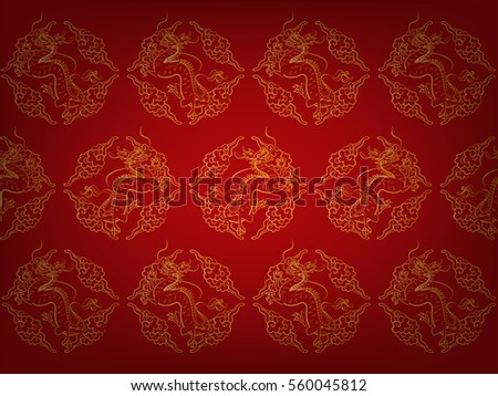 Illustration Vector Fragment Of Red Chinese Pattern Texture Style Wallpaper With Golden Dragons And Cloud