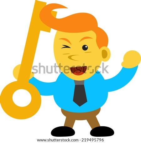 illustration vector graphic cartoon character of businessman - stock vector