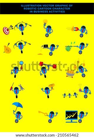 Illustration Vector Graphic Of Robotic Businessman Cartoon Character - stock vector