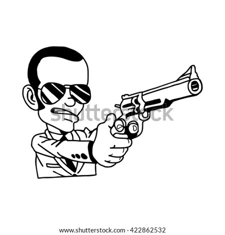 illustration vector hand drawn doodle of man in suit holding gun - stock vector