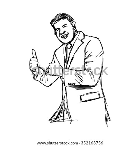 illustration vector hand drawn doodle plump businessman giving two thumbs up.