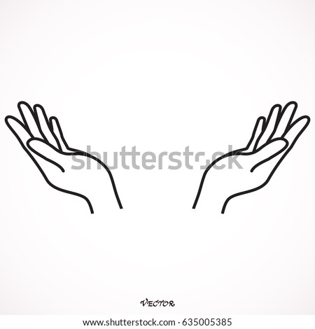 illustration vector hand drawn open hand stock vector 635005385