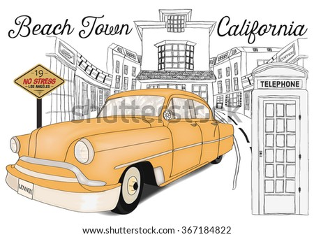 illustration-vector-hand made-drawing-vintage-car - stock vector