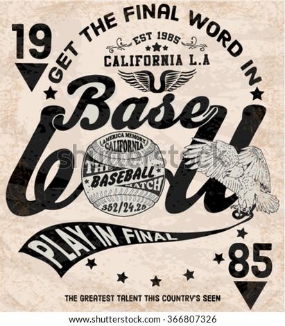 illustration vector handmade drawing vintage baseball and american eagle - stock vector