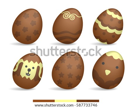 Illustration vector lot of colorful paint chocolate eggs on happy Easter theme.