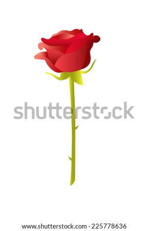 Illustration, vector, of a red rose on white.