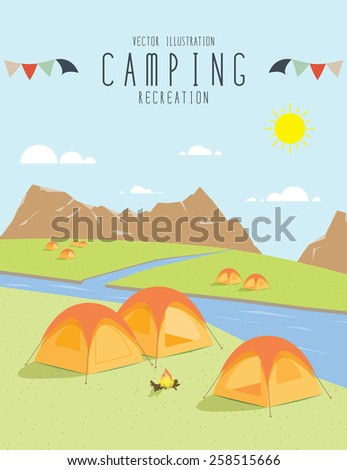 illustration vector of camping in the natural atmosphere. (Day) - stock vector