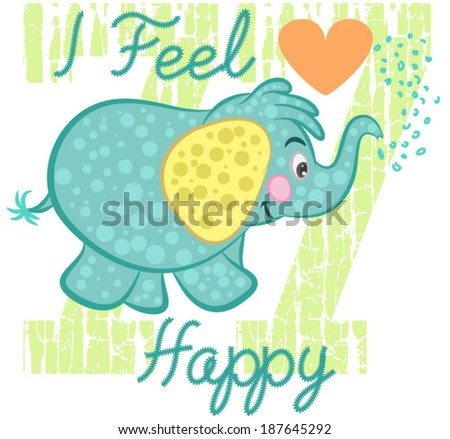 Illustration vector of cute elephant with hearths. - stock vector