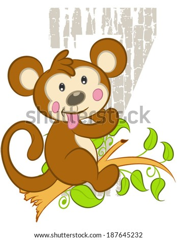 Pictures vector funny monkey vector silhouettes stock illustration ...