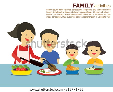 Illustration Vector Of Fun Family Father Mother Daughter And Son Eating Dinner Together In Their