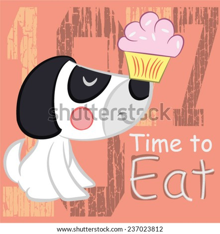 Illustration vector of little puppy - stock vector