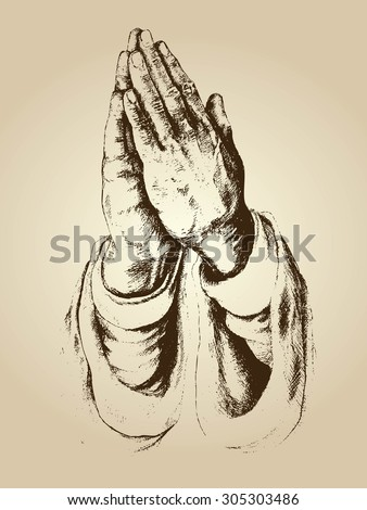 illustration vector of praying hands and faith - stock vector