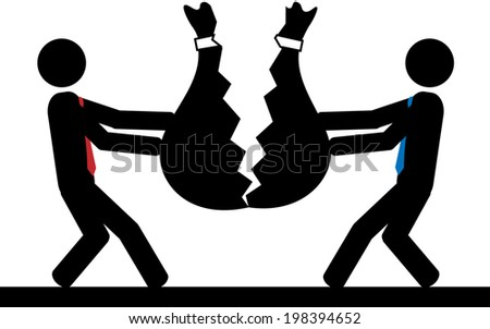 Illustration / vector of two men that break a bag of money. - stock vector