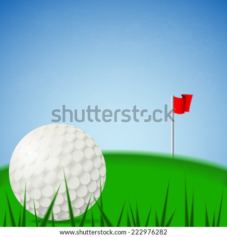 Illustration vector of white golf ball on the green court and blue sky background with pin red folded flag. (EPS10 separate part by part)