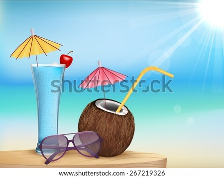 Illustration vector summer beach juice, glasses with young coconut - stock vector
