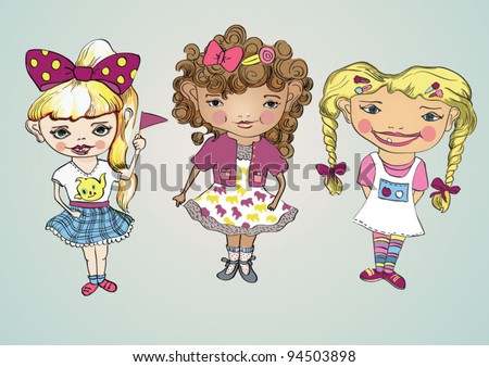 Illustration vector sweet girls