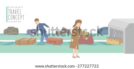 Illustration vector two businessmen get luggage from the baggage carousel flat style. - stock vector