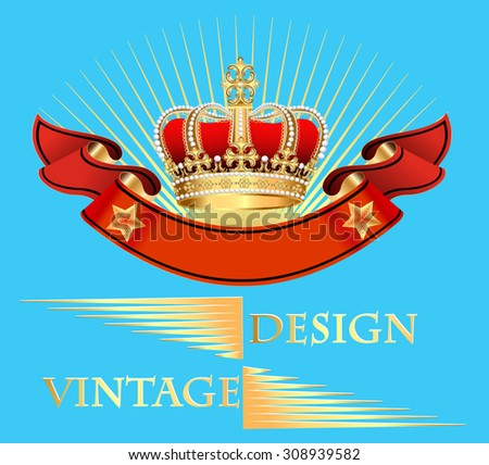 illustration vintage background with crown and ribbon - stock vector