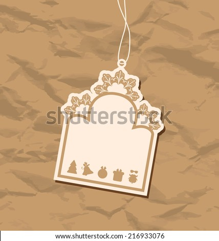 Illustration vintage blank badge with Christmas elements - vector - stock vector