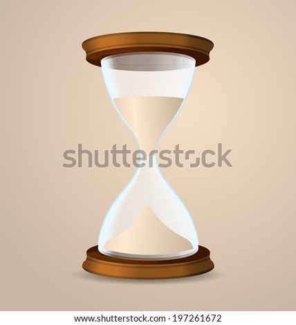 Illustration vintage hourglass isolated on beige background - vector