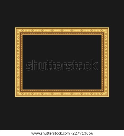 Illustration vintage picture frame isolated on black background - vector - stock vector