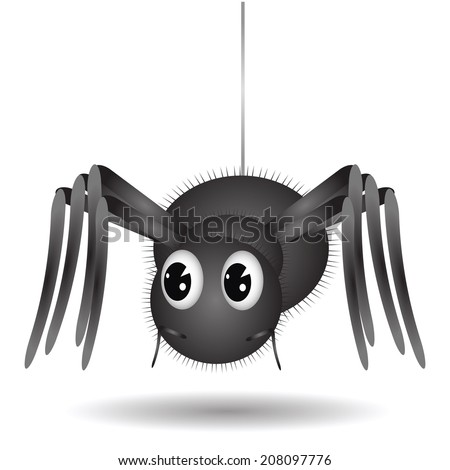 illustration wall with Cartoon Spider  on white background  for your design - stock vector