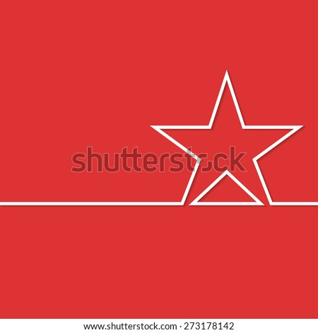 Illustration white star on a red background. Vector. - stock vector