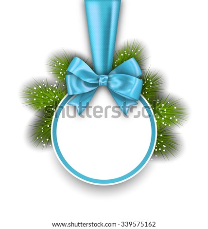 Illustration Winter Holiday Card with Bow Ribbon and Pine Twigs, on White Background - Vector - stock vector
